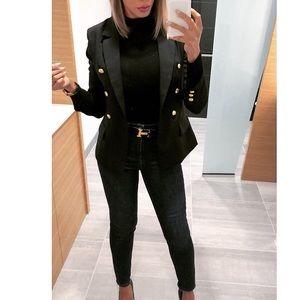 Black & Gold Button Balmain Style Military Blazer